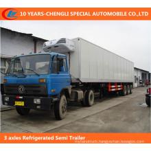 3 Axle Refrigerated Van Cargo Semi Trailer, Large Volume Refrigerated Cargo Trailer