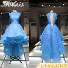 2017 Reunión de Tiamero anfitrión fiesta de té azul formal Parte delantera de espalda largo vestido de dama de honor asimétrico