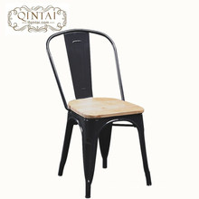 wholesale cheap Alibaba furniture industrial black metal dining chair antique bar chair with wood on the top