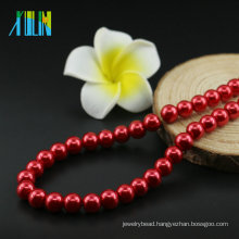 Round Ball Shape Glass Pearls in Bulk UA74 Siam Necklace Making Glass Pearls Wholesale