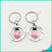 Pink Esmalte Lady Beetle Encantos Keyrings Atacado (KR16041914)