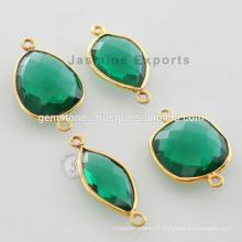 Gold Vermeil Plaqué Vert Emeraude Quartz Faceted Gemstone Bezel Connector Fabricant et Fournisseurs