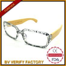 Handmade 100% Natural Bamboo Arm Reading Glasses with Large Demi PC Frame R843