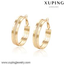94368 -Xuping bijoux dernières conceptions simples simples de boucle d'oreille de cerceau d'or pour des femmes