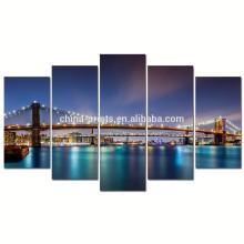 Arte moderno de la pared de la lona del puente de Brooklyn / cartel de la noche de New York City / paisaje de la lona del paisaje urbano