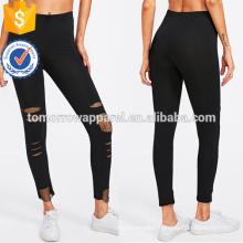 Black Fishnet Insert Ripped Leggings OEM/ODM Manufacture Wholesale Fashion Women Apparel (TA7033L)