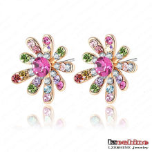 Boucles d'oreilles en cristal plaqué or 18k filles filles fleur (ER0005-C)