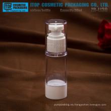 ZB-LI30 30ml atractivo y clásico blanco y clear 1oz redondo botella envase airless de 30ml
