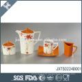 Orange wholesale custom tea set beautiful decal design porcelain tea pot