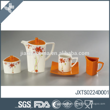 Laranja por atacado chá personalizado conjunto belo decalque design porcelana chá pote