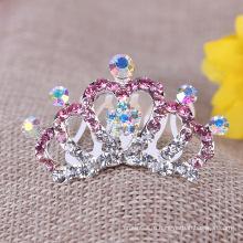 Детские волосы кристалл короны принцессы Тиара Детские Rhinestone волосы расческой