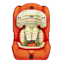 Child car seat with red blue covers