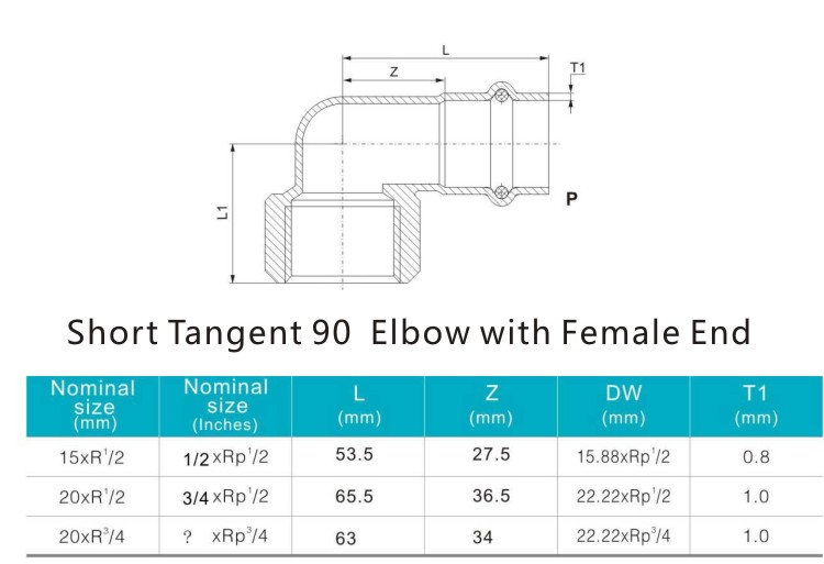 short tangent 90elbow