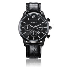 6832multi-Function Wristwatch com empurradores Ss fivela pulseira de couro