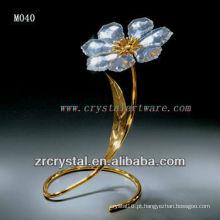 K9 flor de cristal banhado a ouro