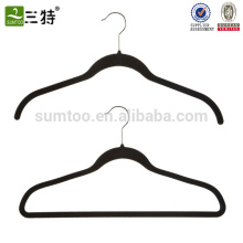 wholesale black thin plastic velvet flocked hanger
