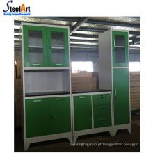 Modelo de armário de cozinha estilo europeu com tampo de mesa de MDF e pia de aço