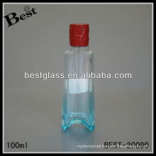 100ml blue perfume glass bottle with red cap