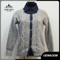 Frauen Denim Kragen gefälschte zweiteilige Pullover