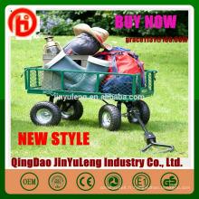 Chariot de jardin en treillis Heavy Duty Steel Metal Yard Farm Bois de chauffage Beach Landscaping Garden Wagon Chariot