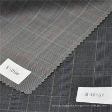 light gray check 30% polyester 70% wool blended fabric wool fabric men's suit fabric