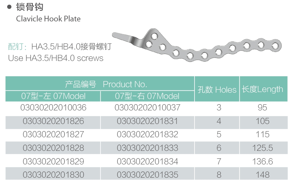 38 clavicle hook plate