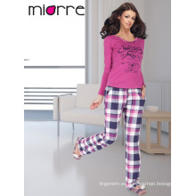 MIORRE OEM de algodón turco de calidad de manga larga impreso cómodo pijama pijamas Set