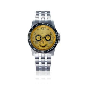 New Design Accept Print Logo Luxury Metal Wristwatch