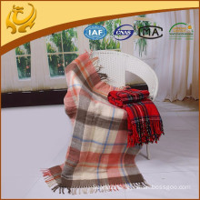 China Factory Wholesale Woven Brushed Plaid 100% Acrylic Blanket With Tassel