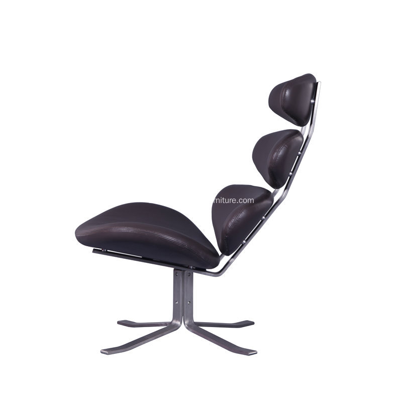 Corona Swivel Lounge Chair Upholstered with Leather