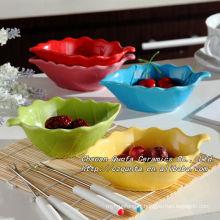 Soucoupe assiette plate en céramique émail coloré pour collation QF-018