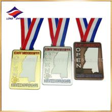 Oro Plata Cobre Medallas de kárate ahuecar medallas con cinta