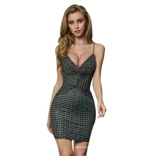 Weixin Wholesale Womens Clothing Knotted Ruched Detail Sexy Sleeveless Club Wrap Tube Bodycon Sequin Fashion Dress