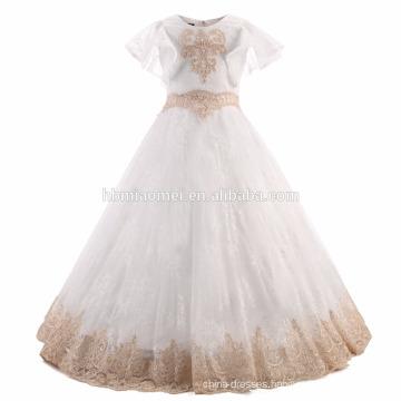 Pretty Children White Color Short Sleeve Embroidered Tulle Flower Girls Dress Angel Dresses