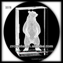 K9 3D subsolo de laser urso dentro de cristal retângulo