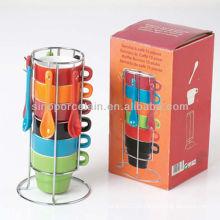 110cc mais vendidos seis cores empilhadas de cerâmica empilhados copo com colher com metal Rack para BS12052