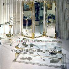 K9 Kristall Tisch und Schrank mit goldenen Kanten