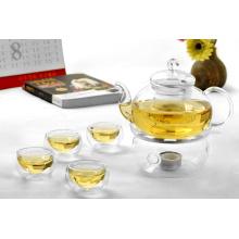 Jogo de chá de borossilicato, bule de vidro, chá resistente ao calor