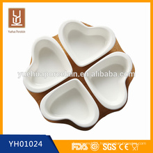 white porcelain heart shape dessert plate bowl set with bamboo base