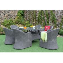 La mejor calidad Wicker PE Rattan comedor conjuntos de mesa y silla Restaurante Muebles