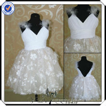 FF0007 real sample two color flower dresses for girl of 5 years old