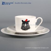 Black Bear Round Shape Party Vaisselle en porcelaine usée, plats de céramique occidentaux en provenance de Chine