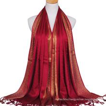 2017 latest fashion lady cotton plain stylish checked gold wire gilter muslim hijab scarf dubai with tassels glitter hijab