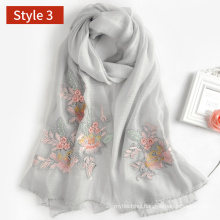 2017 new model blend silk wool embroidered flroal scarf