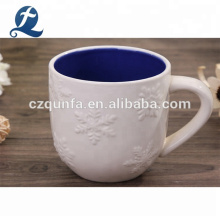 Double Color Emboss Ceramic Coffee Water Travel Mug With Handle