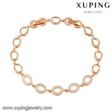 74516 xuping nouveau mode 18 carats plaqué or bracelet pour les cadeaux