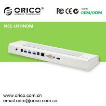 NCE-U3HNDM-WH-800 docking station de notebook multifuncional com interface USB3.0, bloco de resfriamento para notebook