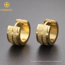 High repurchased rate stainless steel gold plated brushed hoop earrings for women