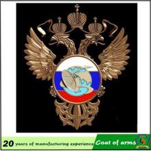 Emblema de metal Eagle de doble cabeza para decoración