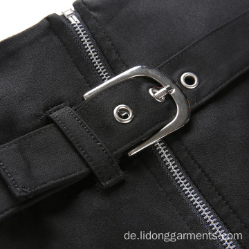 Hohe Taille Frauen Sexy Zipper Split A-Line Rock